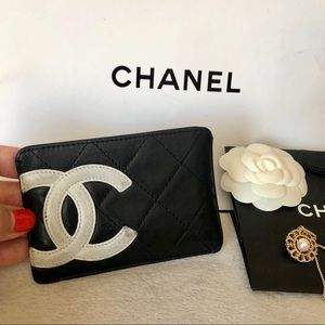 CHANEL Cambon Black Leather CC Card Holder Case